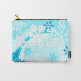 Blue Flower Art Winter Holiday Carry-All Pouch