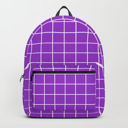 Dark orchid - violet color - White Lines Grid Pattern Backpack