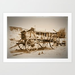 Old Wagon in Belmont Ghost Town, Central Nevada - Sepia Art Print