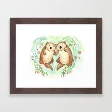 Otters Holding Hands Framed Art Print