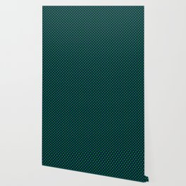 Mini Navy and Neon Lime Green Polka Dots Wallpaper