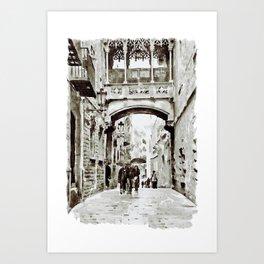 Carrer del Bisbe - Barcelona Black and White Art Print