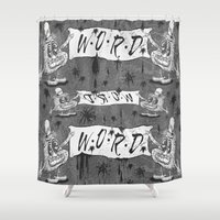 calligraphy Shower Curtains featuring Calligraphy by Amy Gale