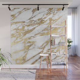 Chic Elegant White and Gold Marble Pattern Wall Mural