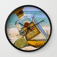tequila Wall Clocks featuring Tequila! by Brocoli ArtPrint