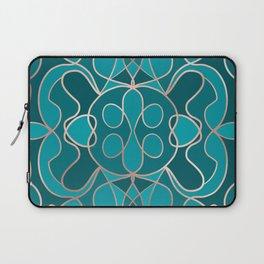 Modern Artsy Ocean Blue Rose Gold Geometric Laptop Sleeve