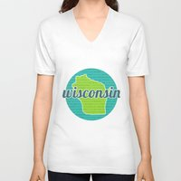wisconsin V-neck T-shirts featuring Words of Wisconsin by Katherine Paulin