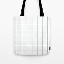 Graph Paper (Dark Green & White Pattern) Tote Bag
