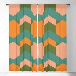 California Retro Deco Pattern in Peach Orange Green Teal Blackout Curtain