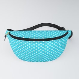 Tiny Paw Prints Pattern - Bright Turquoise & White Fanny Pack
