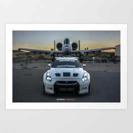 Nissan GT-R R35 LibertyWalk Widebody with retired plane Art Print