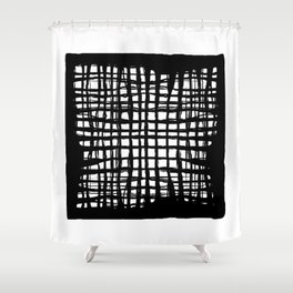 black and white screen Shower Curtain
