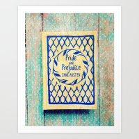 Pride and Prejudice Book in Yellow Art Print