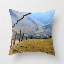 Valley of River Sno Throw Pillow