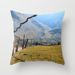Valley of River Sno Throw Pillow