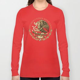 Mexican flag seal in sepia tones on black bg Long Sleeve T-shirt