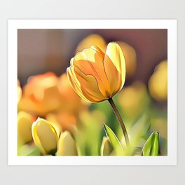 Yellow Tulips Airbrush Artwork Art Print