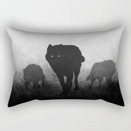 Black and White Wolfpack Rectangular Pillow