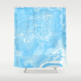 Hiro - spilled ink japanese printmaking paper marbling marbled marble blue india ink ocean maps Shower Curtain