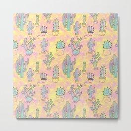Strawberry Vanilla Cactus Metal Print