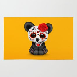 Red Day of the Dead Sugar Skull Panda Rug