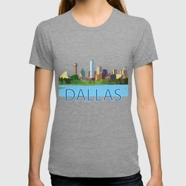 Colorful Dallas Skyline Illustration T-shirt