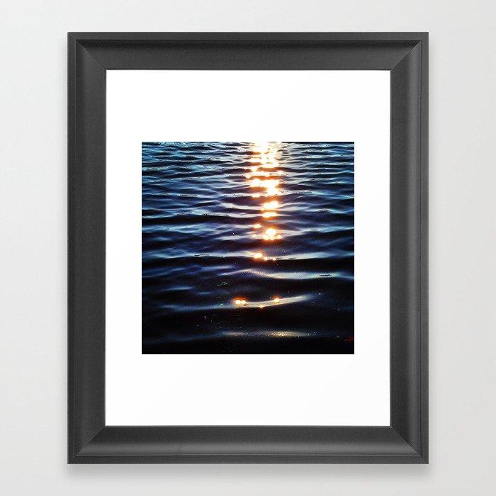 Golden Sunset Droplets Framed Art Print
