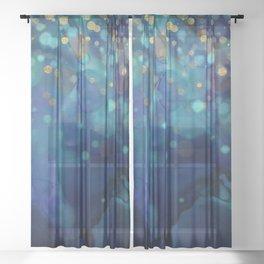 Ocean Blue & Golden Bokeh Confetti Sheer Curtain
