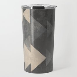 Geometric triangles abstract pattern - Gray tones & Beige Travel Mug