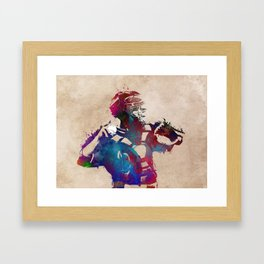 Baseball player 1 #baseball #sport Framed Art Print