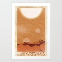 arrakis Art Prints featuring Visit Scenic Arrakis - Distressed Vintage Travel Poster by Alan Tippins