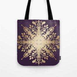 Gold texture foil on mauve ethnic pattern Tote Bag