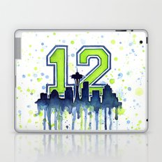 Seattle 12th Man Art Skyline Watercolor Laptop & iPad Skin