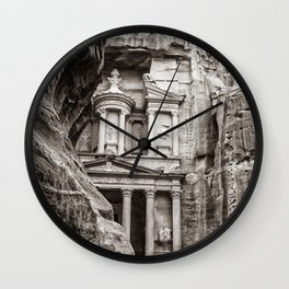 Petra | Black and White Al Khazneh (The Treasury) Incredible Archeological City Jordan Wall Clock