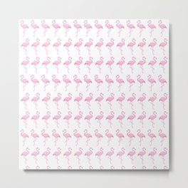 Flamingo on White Metal Print
