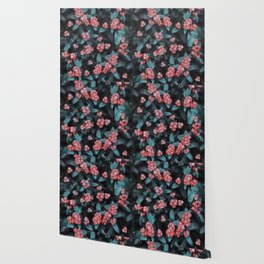 Berry-like Dark Floral Pattern Wallpaper