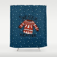 sweater Shower Curtains featuring Sweater by Mr & Mrs Quirynen