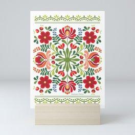 Hungarian Folk Design Red and Pink Mini Art Print