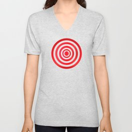Target. Purpose. Red and white circles. Unisex V-Neck