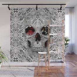 Lace Skull Light Wall Mural