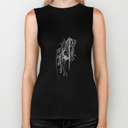 Tribal Horse white on black Biker Tank