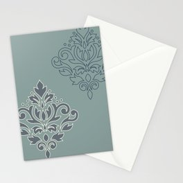 Scroll Damask Art I (outline) Crm Blues Teal Stationery Cards