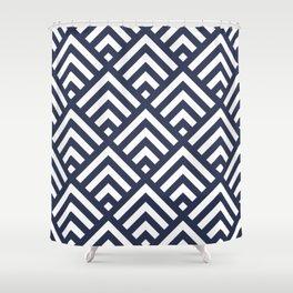 Navy Blue geometric art deco diamond pattern Shower Curtain