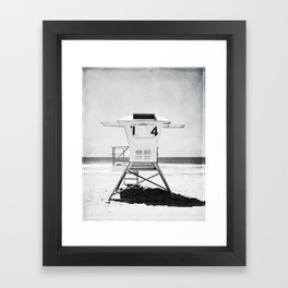 Black and White Beach Photography, Grey Lifeguard Stand, Gray Coastal Nautical Art Framed Art Print