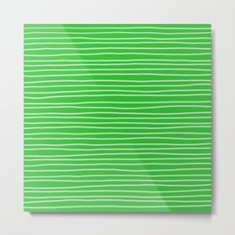 Grass Green Pinstripes Metal Print