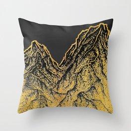"""遠望 series -""""Gold Valley"""" - Linocut Throw Pillow"""
