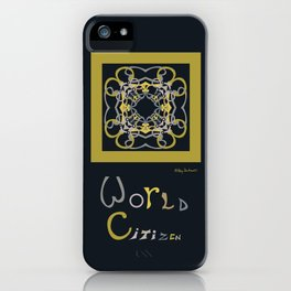 World Citizen Mandala with Word (no border) - Chartreuse Black iPhone Case