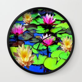 PINK & YELLOW WATER LILIES POND Wall Clock