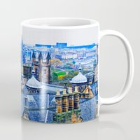 edinburgh Mugs featuring Edinburgh Rooftops  by Valerie Paterson