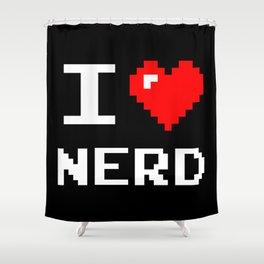 I Love Nerd, nerd t shirt, black version Shower Curtain